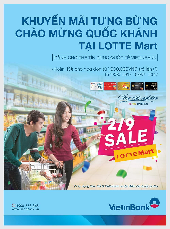 Hoàn 15% cho chủ thẻ tín dụng quốc tế VietinBank tại LOTTE Mart